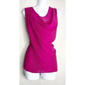 Cabi brilliant blouse magenta cowl drape neck M